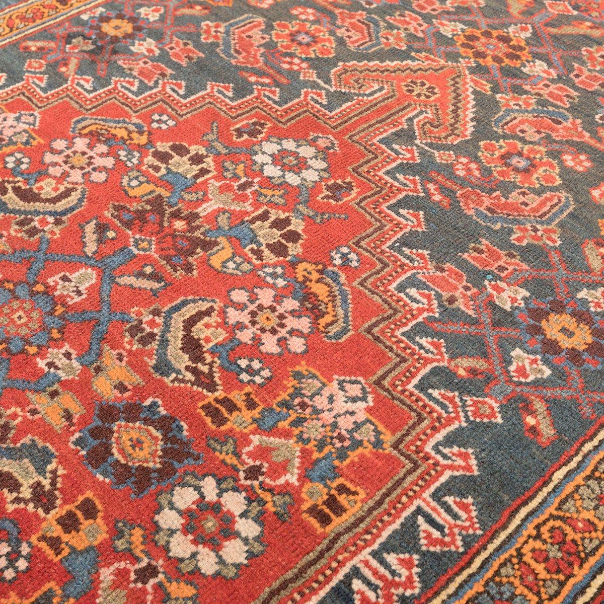 melayir wollteppich in orange rot und gr n auf blauem hintergrund 1900er bei pamono kaufen. Black Bedroom Furniture Sets. Home Design Ideas
