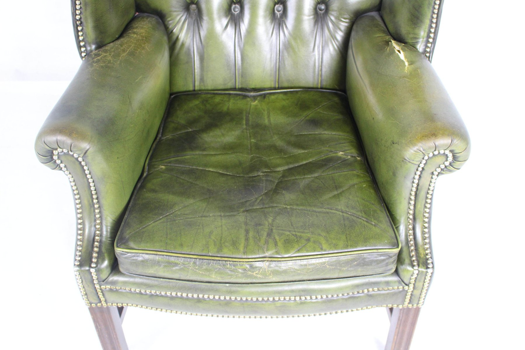 genieteter vintage leder ohrensessel bei pamono kaufen. Black Bedroom Furniture Sets. Home Design Ideas