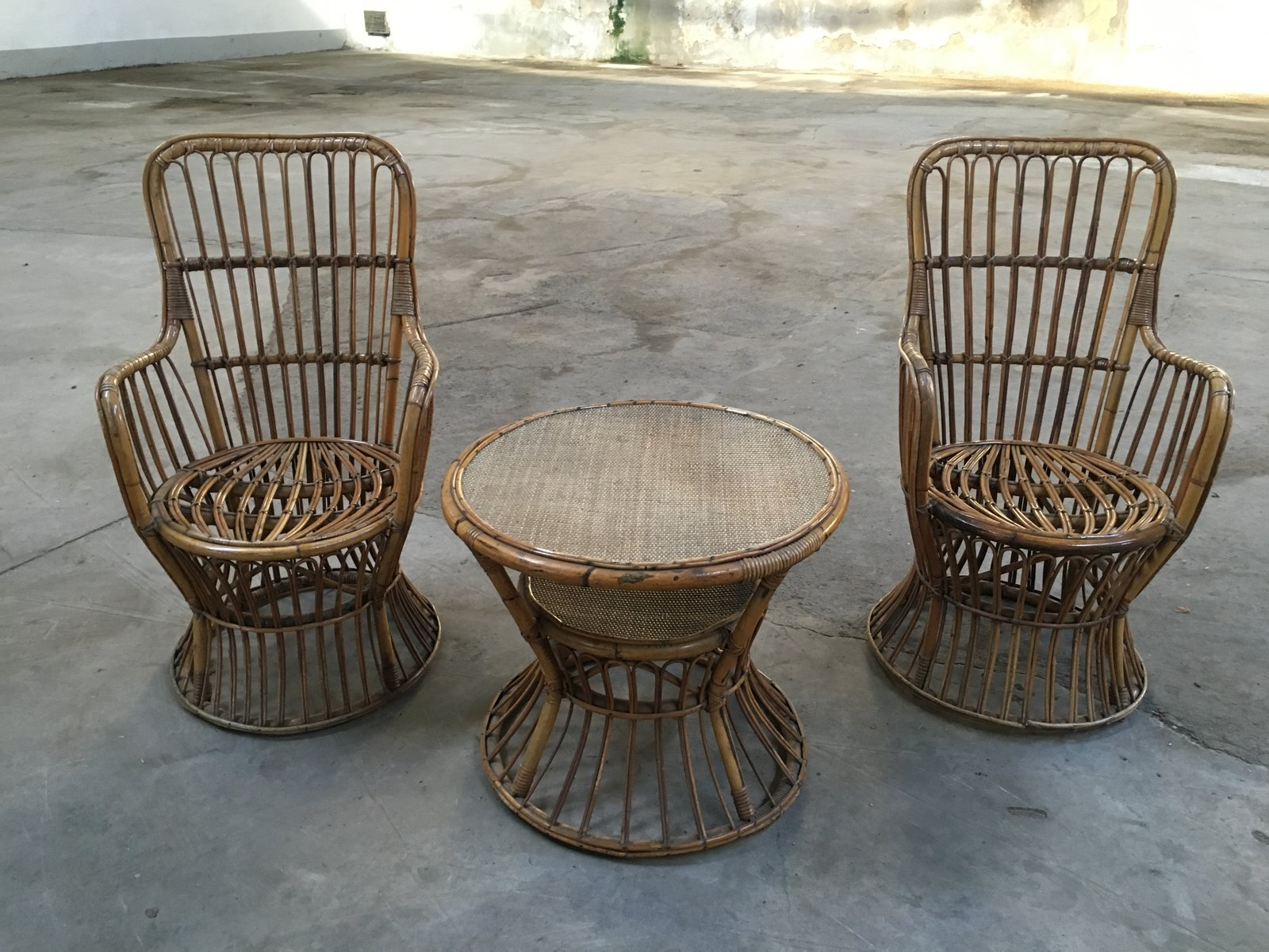 bamboo rattan chairs. Italian Bamboo \u0026 Rattan Set Of Two Armchairs Side Table, 1950s Chairs H