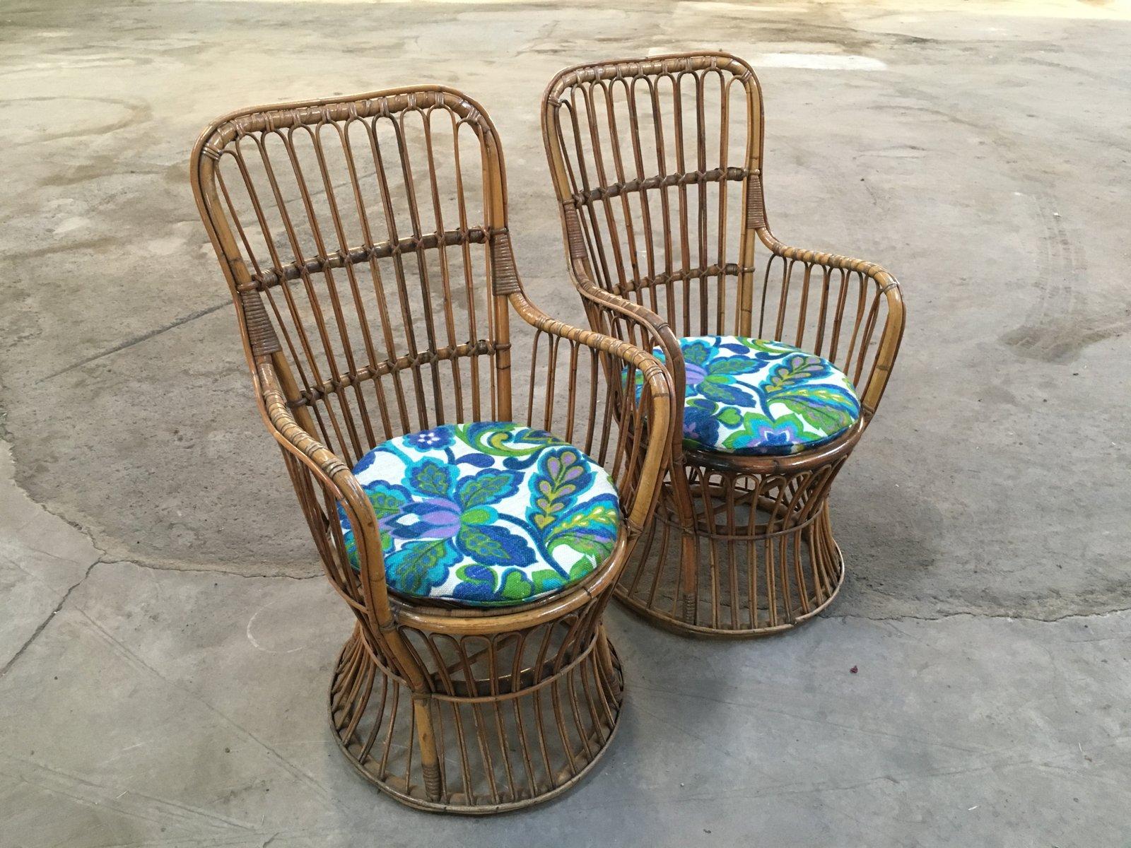 italienische bambus rattan armlehnst hle beistelltisch. Black Bedroom Furniture Sets. Home Design Ideas