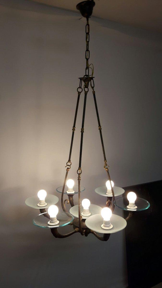 lampe suspension style art d co avec 7 ampoules 1960s en vente sur pamono. Black Bedroom Furniture Sets. Home Design Ideas