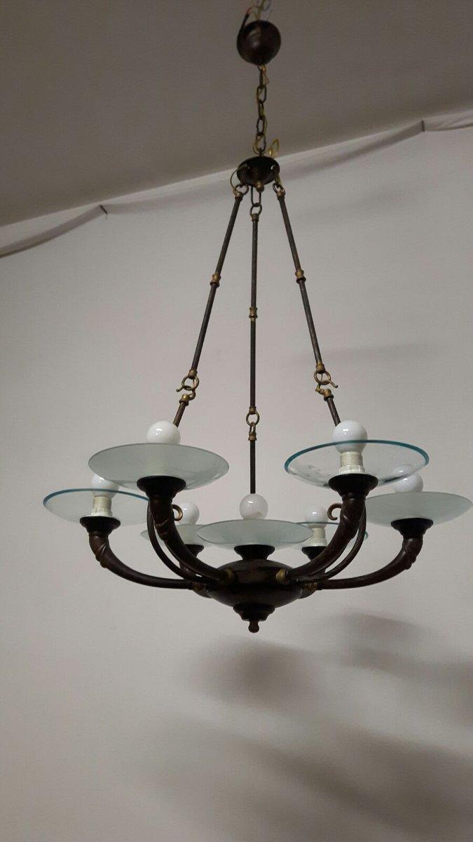 art deco stil h ngelampe mit 7 leuchten 1960er bei pamono. Black Bedroom Furniture Sets. Home Design Ideas