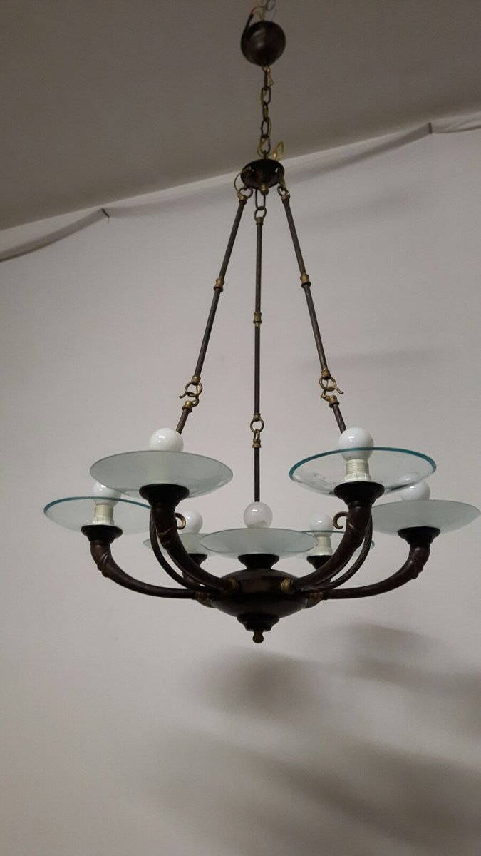 Art deco style 7 arm chandelier 1960s for sale at pamono art deco style 7 arm chandelier 1960s arubaitofo Gallery