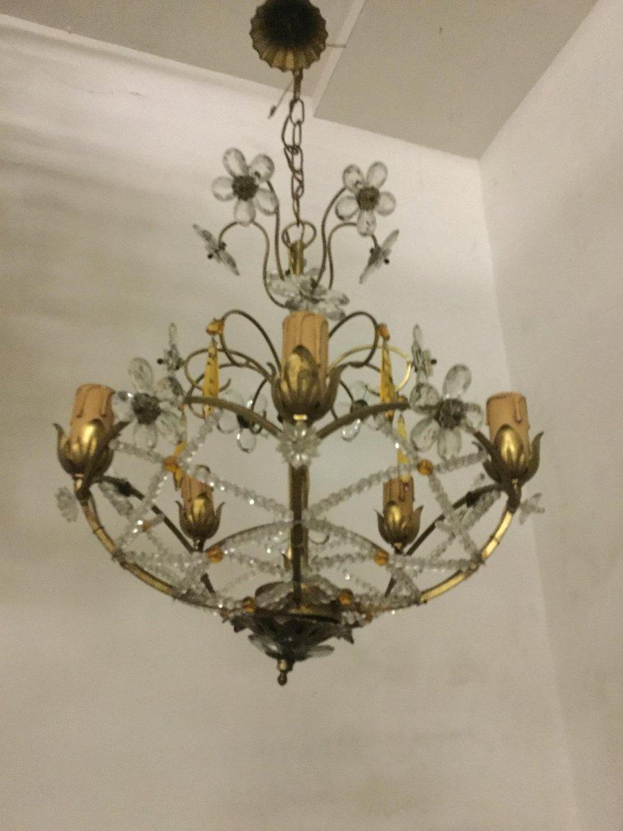 Lampadario vintage con gocce e fiori in cristallo in for Lampadario vintage