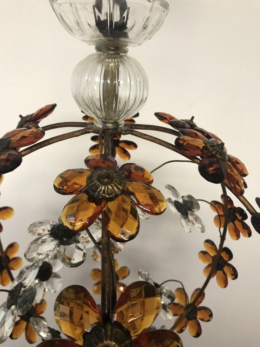 vintage h ngelampe bernsteinfarbenen kristallen bei pamono kaufen. Black Bedroom Furniture Sets. Home Design Ideas