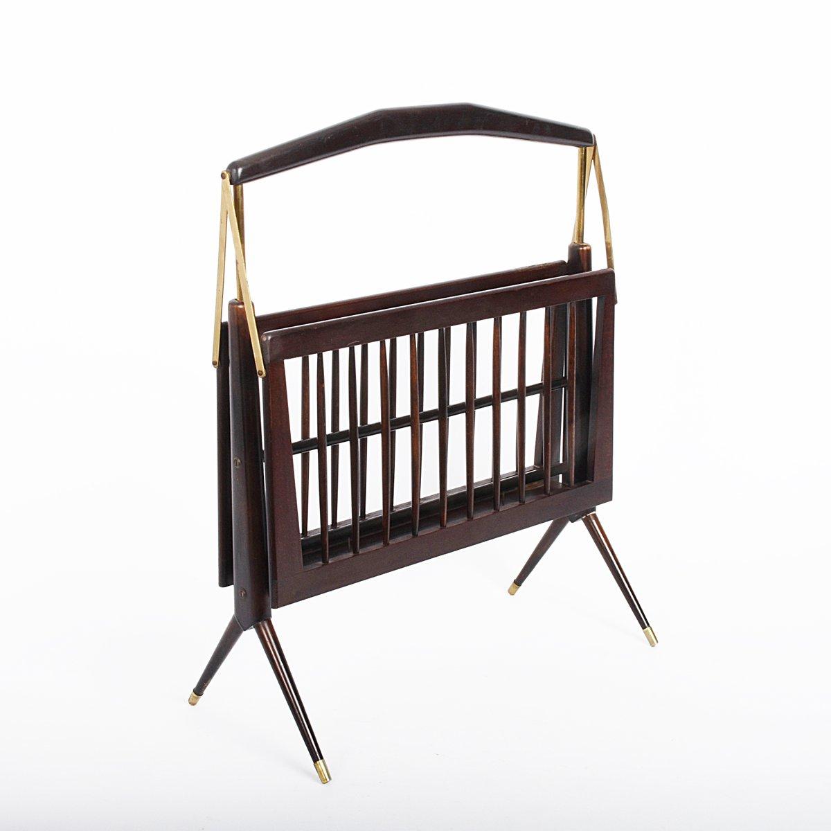 zeitungsst nder aus holz messing von cesare lacca. Black Bedroom Furniture Sets. Home Design Ideas