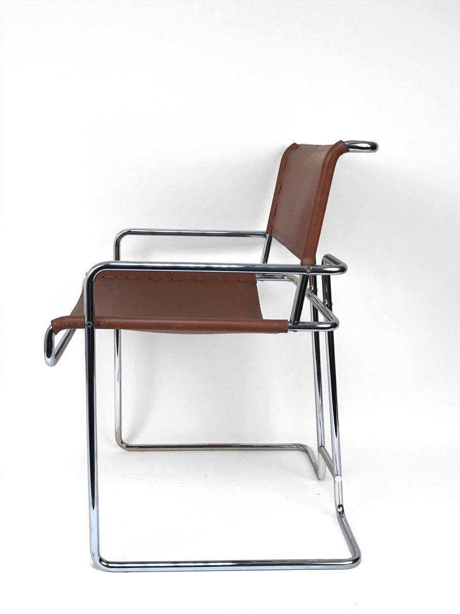 chaise chrom e en cuir par guido faleschini pour i 4. Black Bedroom Furniture Sets. Home Design Ideas