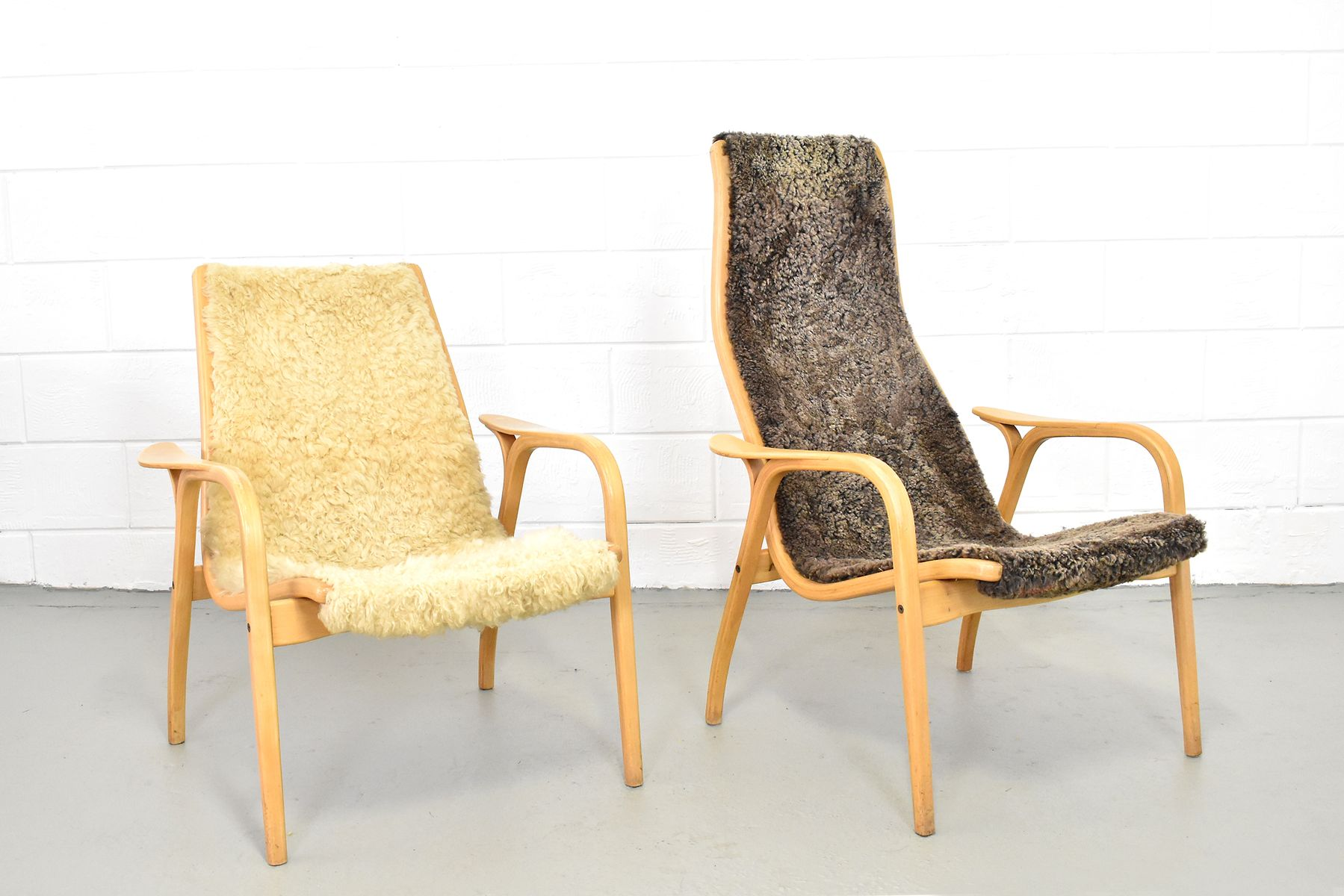 Vintage Lamino Sheepskin Chairs By Yngve Ekström For Swedese, Set Of 2
