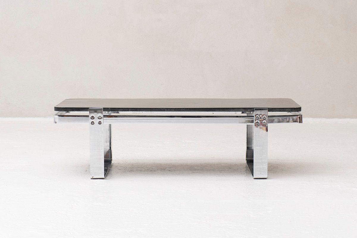 Vintage german chrome slate coffee table 1960s