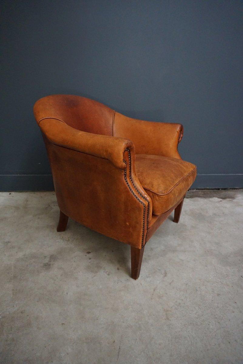 niederl ndischer cognacfarbener vintage ledersessel bei. Black Bedroom Furniture Sets. Home Design Ideas
