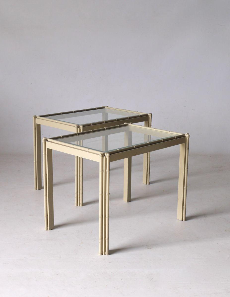 Italienische tische in bambus optik 1980er 2er set bei for Italienische designer tische
