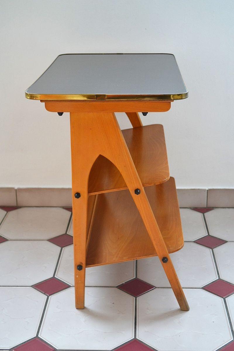 vintage beistelltisch mit zeitungsst nder 1960er bei pamono kaufen. Black Bedroom Furniture Sets. Home Design Ideas