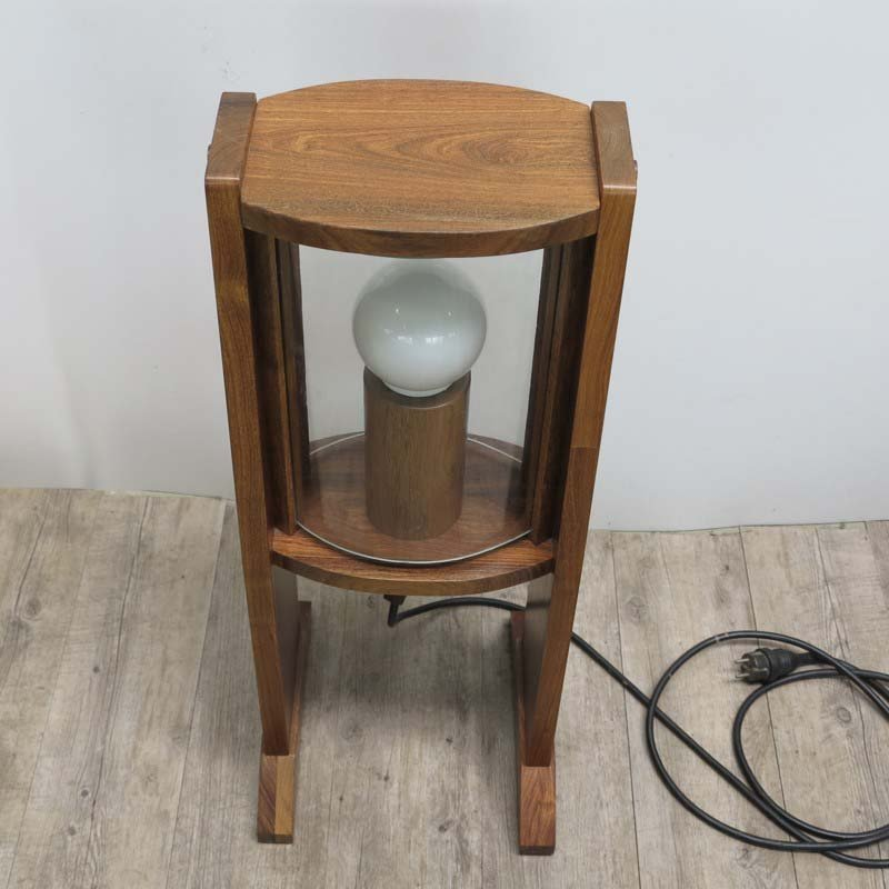 Vintage wooden floor lamp with arched glass panes 1960s for sale at vintage wooden floor lamp with arched glass panes 1960s aloadofball Image collections