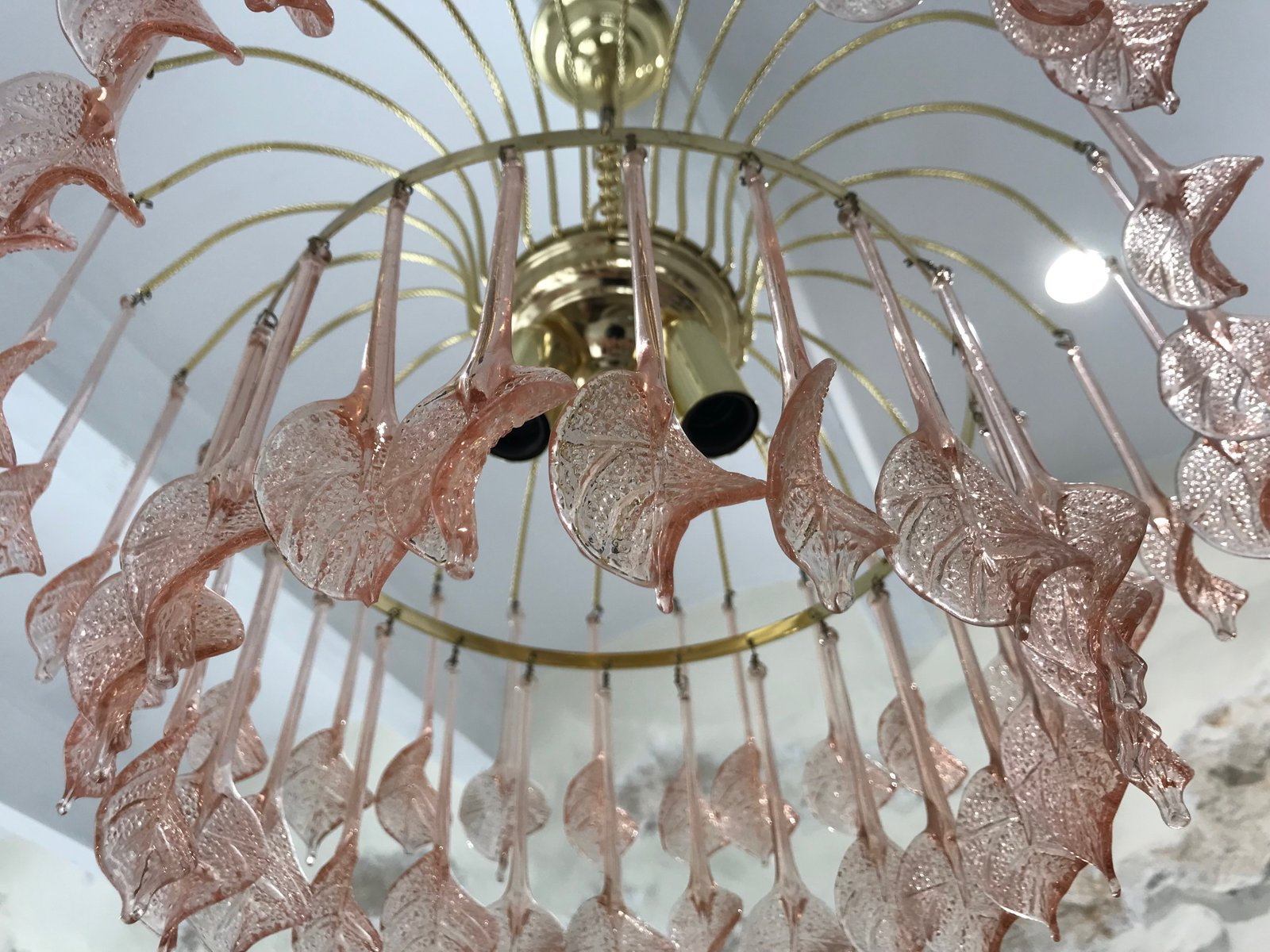 Pink Glass Chandelier Floral pink murano glass chandelier 1970s for sale at pamono floral pink murano glass chandelier 1970s audiocablefo