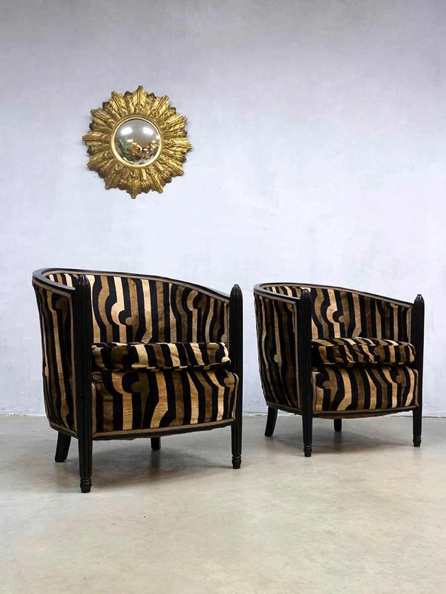 French Art Deco Velvet Chaise Longue Amp 2 Club Chairs For