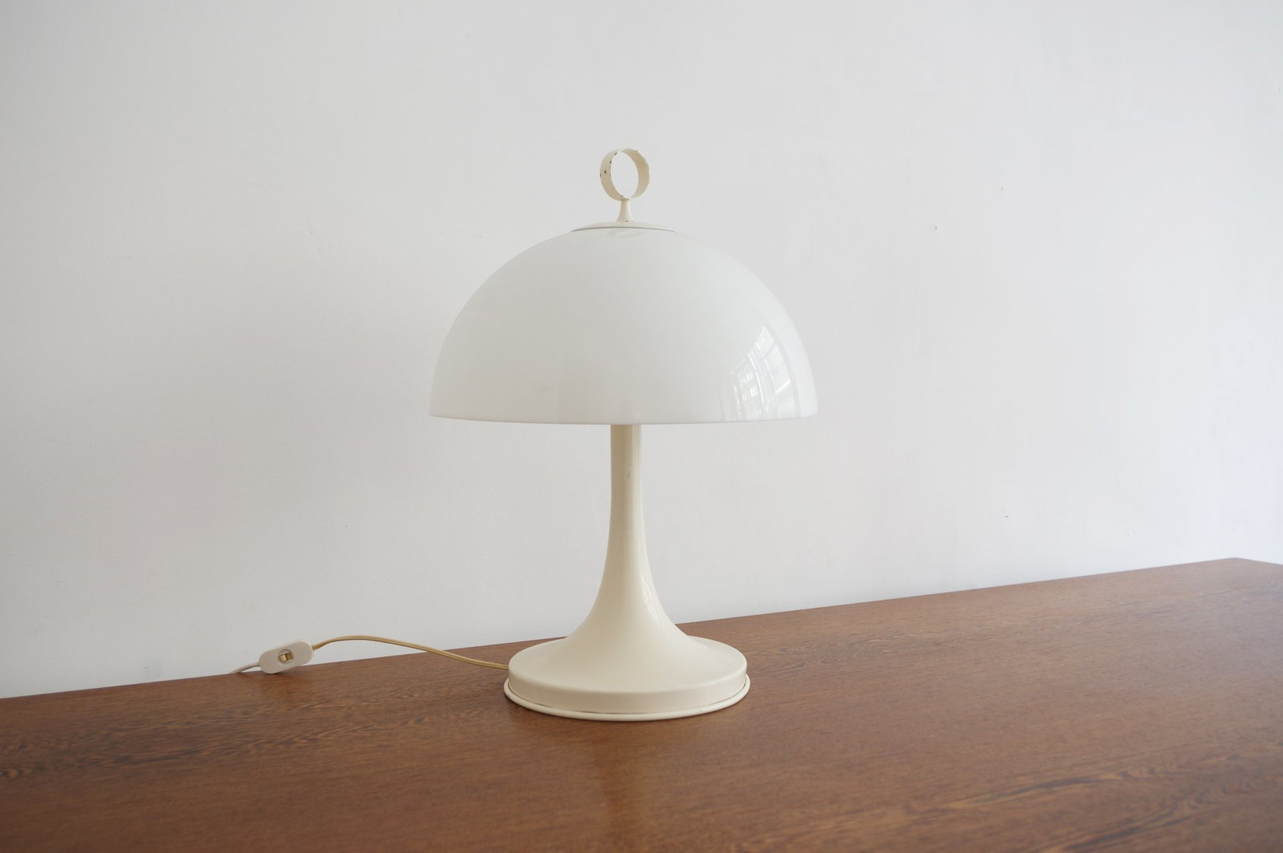 Italian Desk Lamp With Tulip Base And Acrylic Shade 1960s