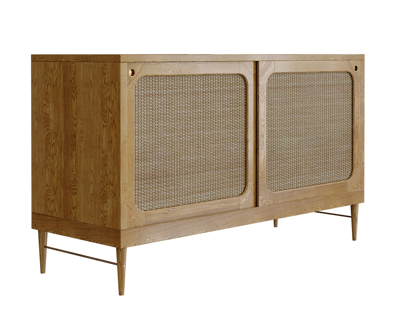 Sideboard In Natural Oak And Rattan By Lind Almond For