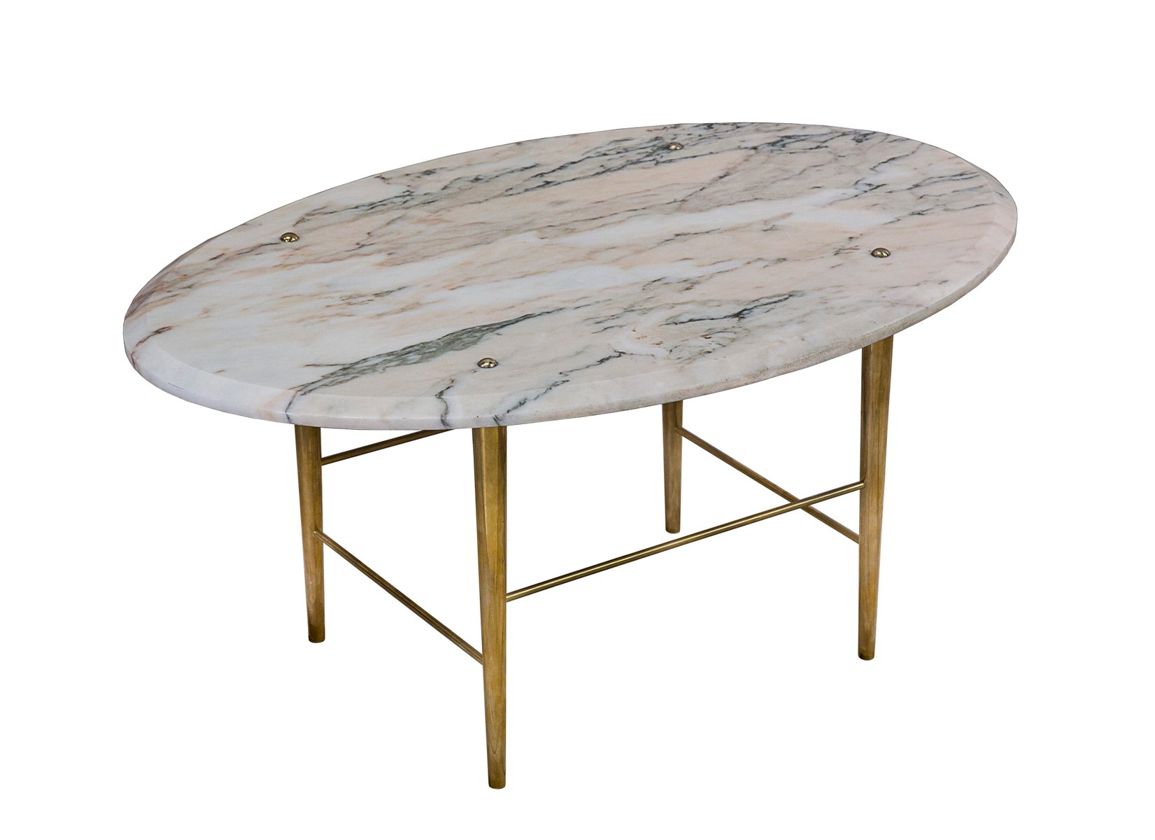 Stud coffee table in rosso marble brass by lind almond for Coffee table with studs