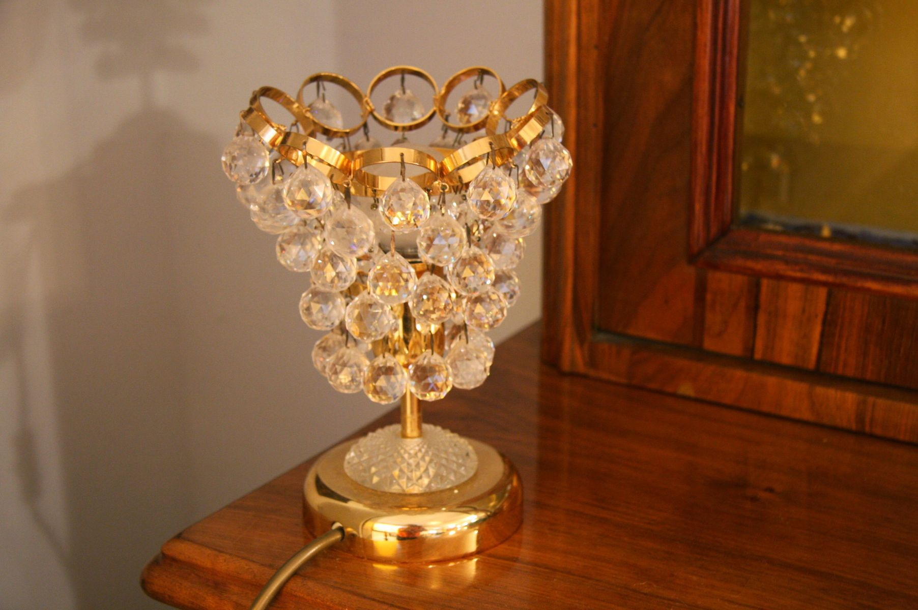 Mid Century Crystal U0026 Brass Table Lamp For Sale At Pamono