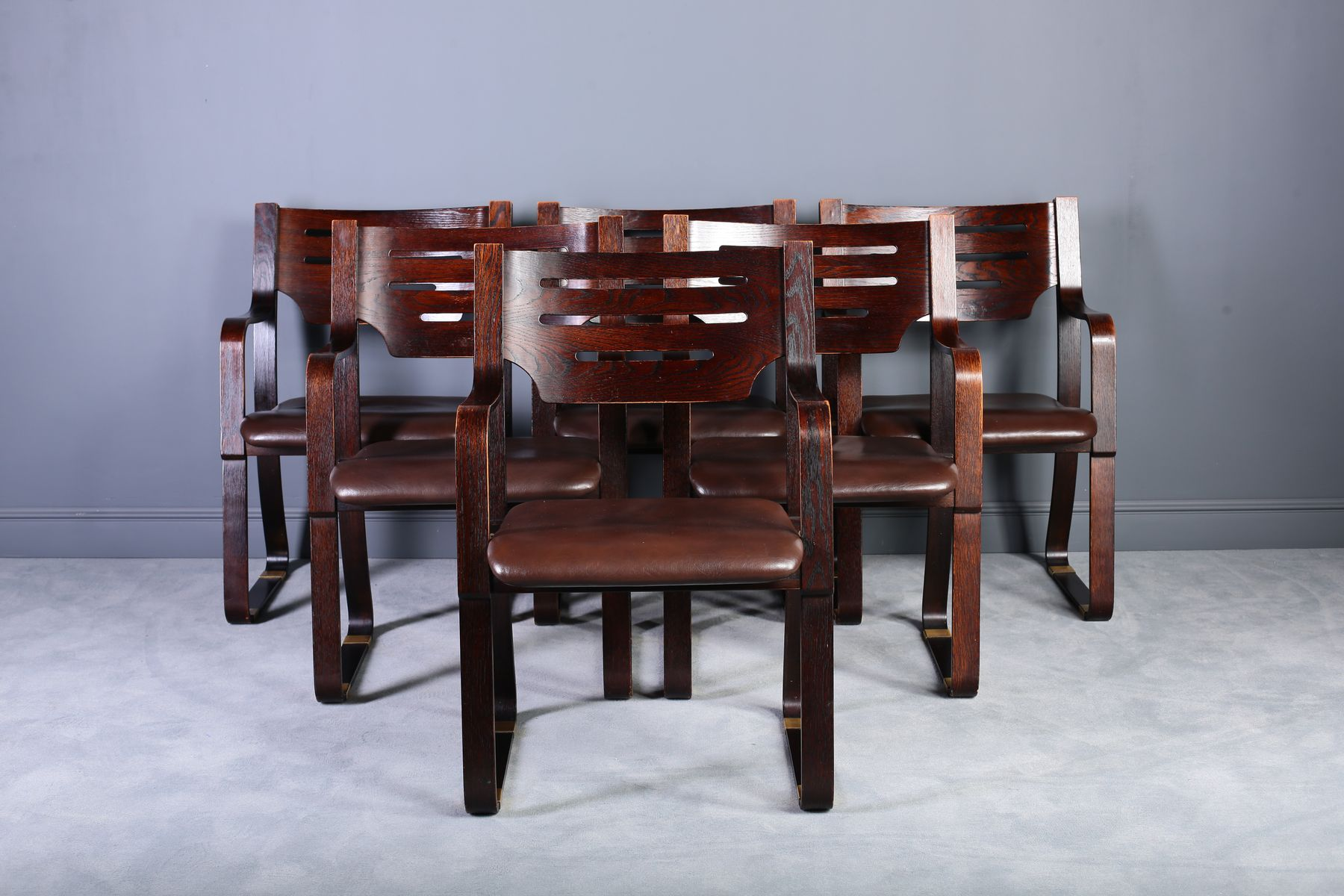Leather U0026 Bentwood Dining Chairs, 1960s, Set Of 6