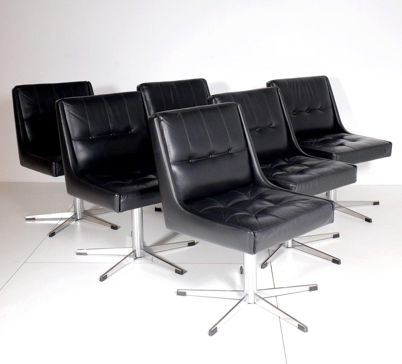 franz sische st hle aus verchromtem metall und schwarzem leder 1970er 6er set bei pamono kaufen. Black Bedroom Furniture Sets. Home Design Ideas