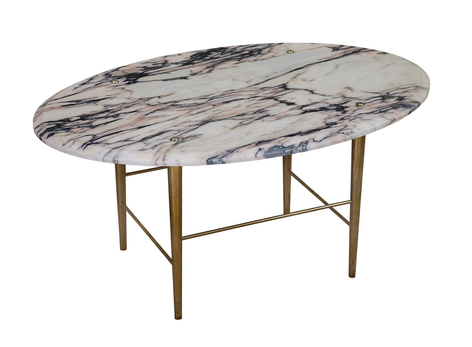 Stud coffee table in vulcanatta marble brass by lind almond for novocastrian
