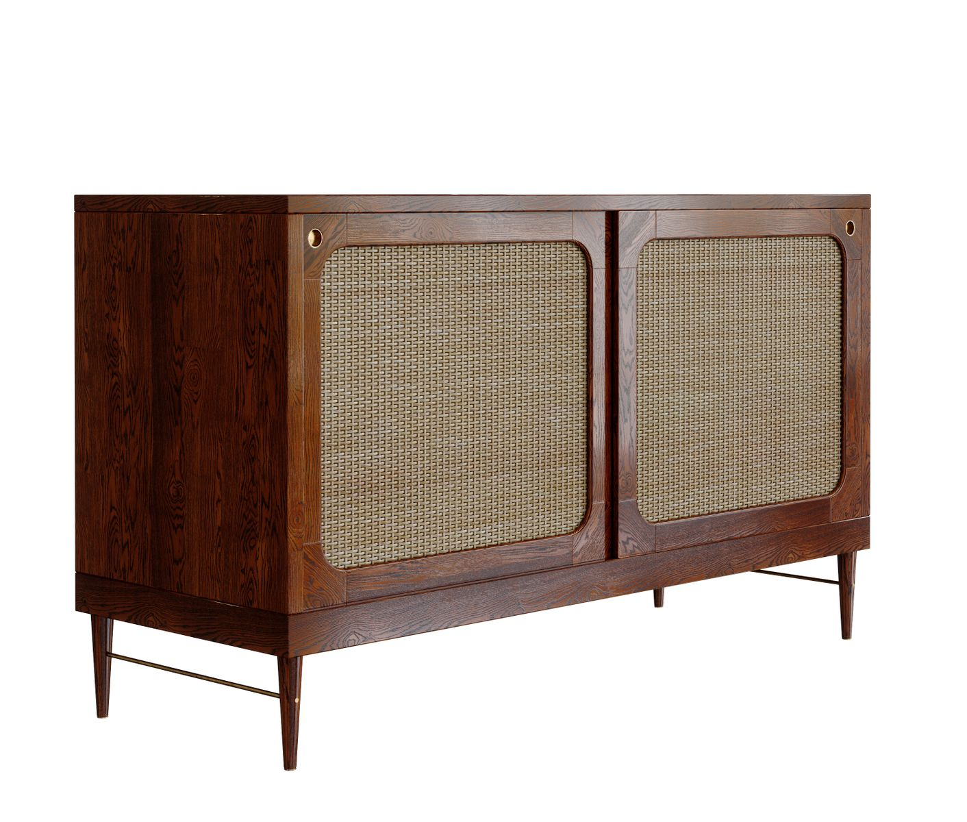 Sideboard in chestnut colored oak rattan by lind for Sideboard rattan