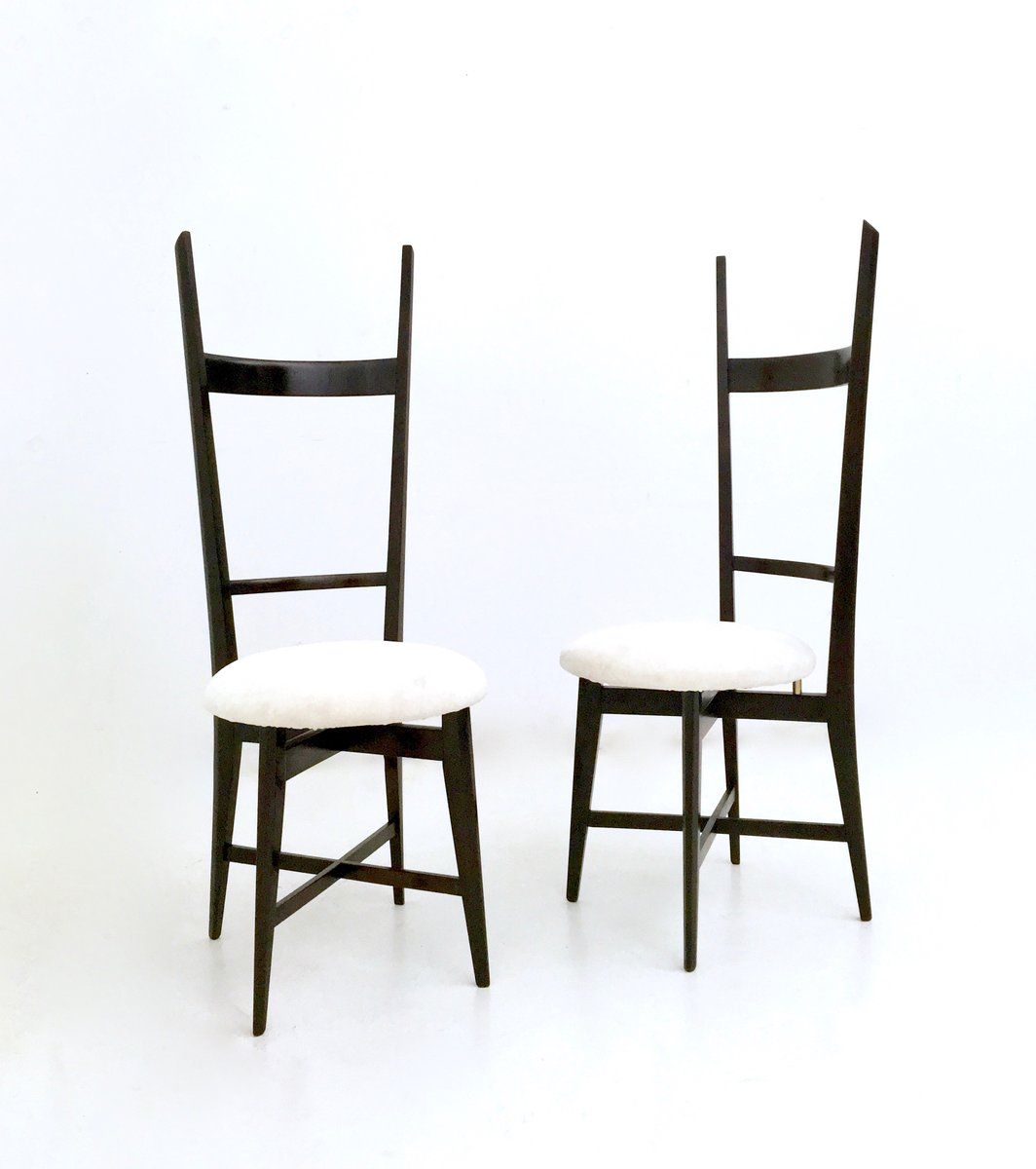 White Velvet And Solid Mahogany Chiavari Chairs, 1950s, Set Of 2