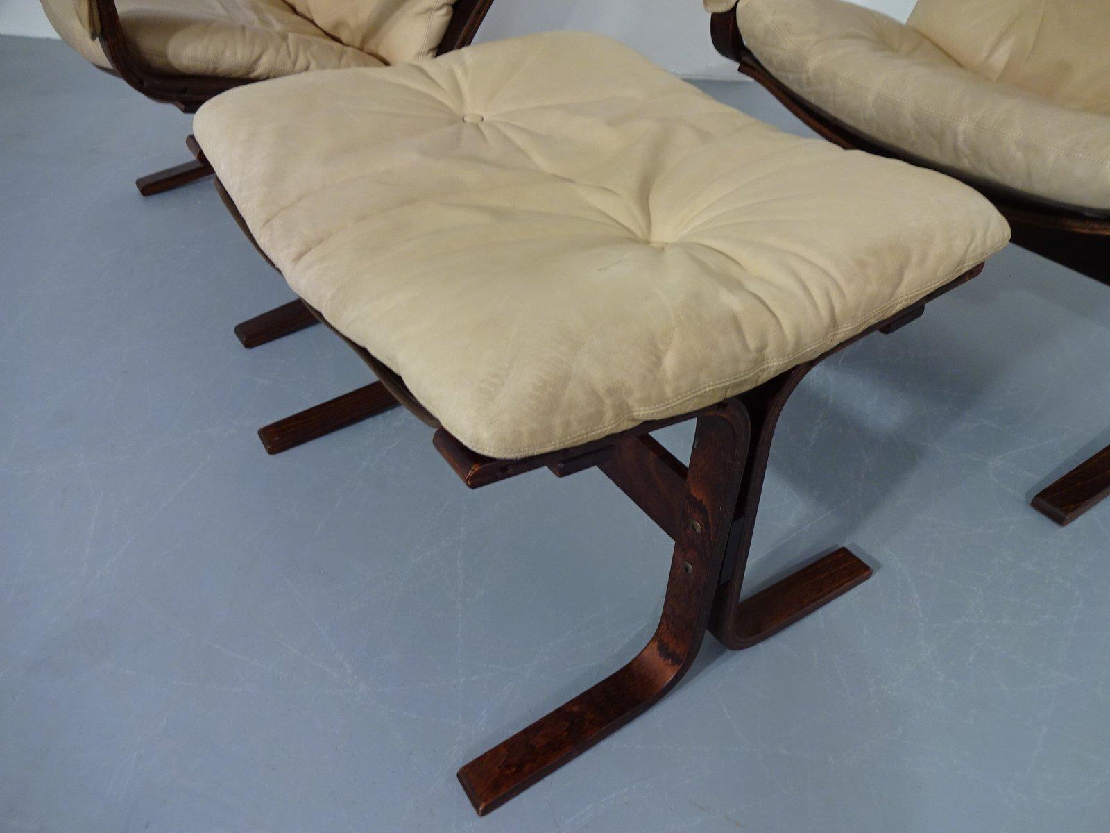 Mesa Siesta, otomana y dos sillas de cuero Mid-Century de Ingmal ...