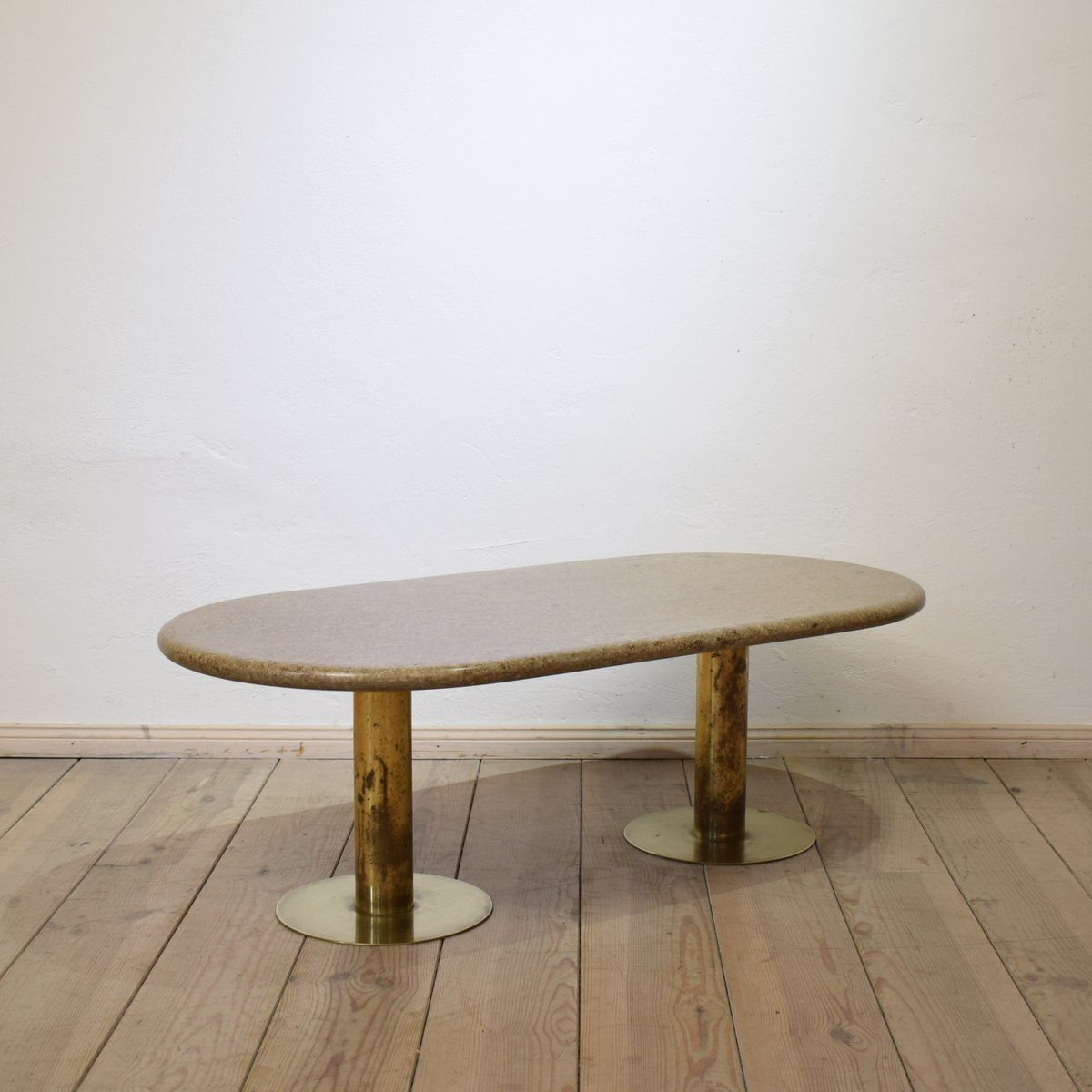 Mid Century Italian Brass And Marble Side Table For Sale At Pamono