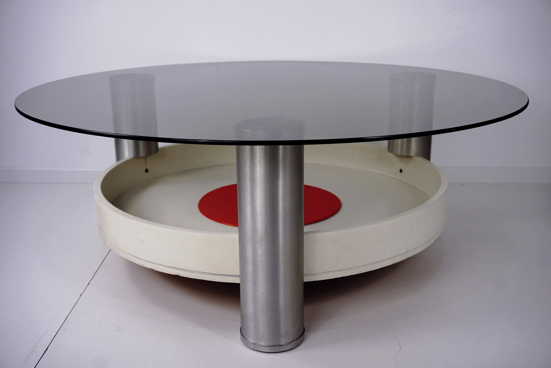 Vintage round glass wood coffee table for sale at pamono for Round wood glass coffee table
