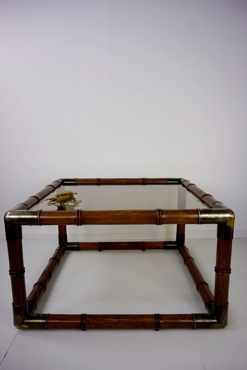 couchtisch aus geschnitztem holz und glas 1960er bei. Black Bedroom Furniture Sets. Home Design Ideas