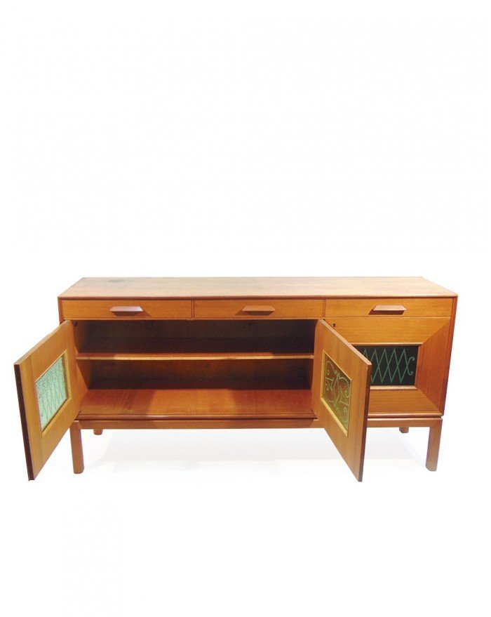 norwegisches teak sideboard mit glast ren 1960er bei. Black Bedroom Furniture Sets. Home Design Ideas