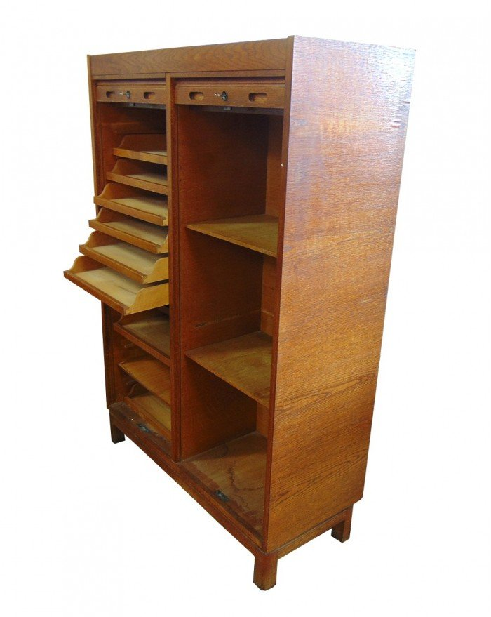Teak Cabinet with Jalousie Doors, 1960s for sale at Pamono