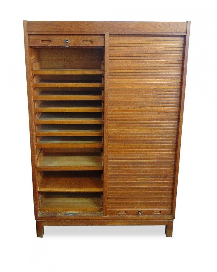 teak schrank mit rollt ren 1960er bei pamono kaufen. Black Bedroom Furniture Sets. Home Design Ideas