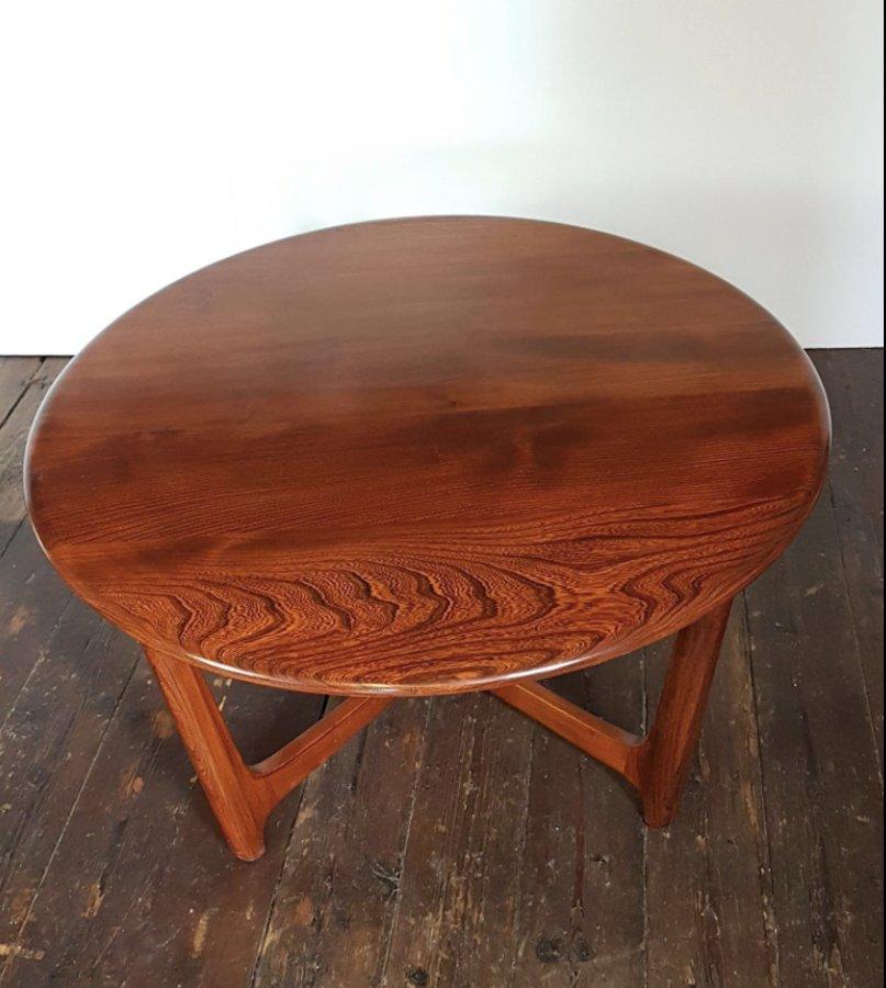 Mid-Century Wychwood Elm Astro Circular Coffee Table From