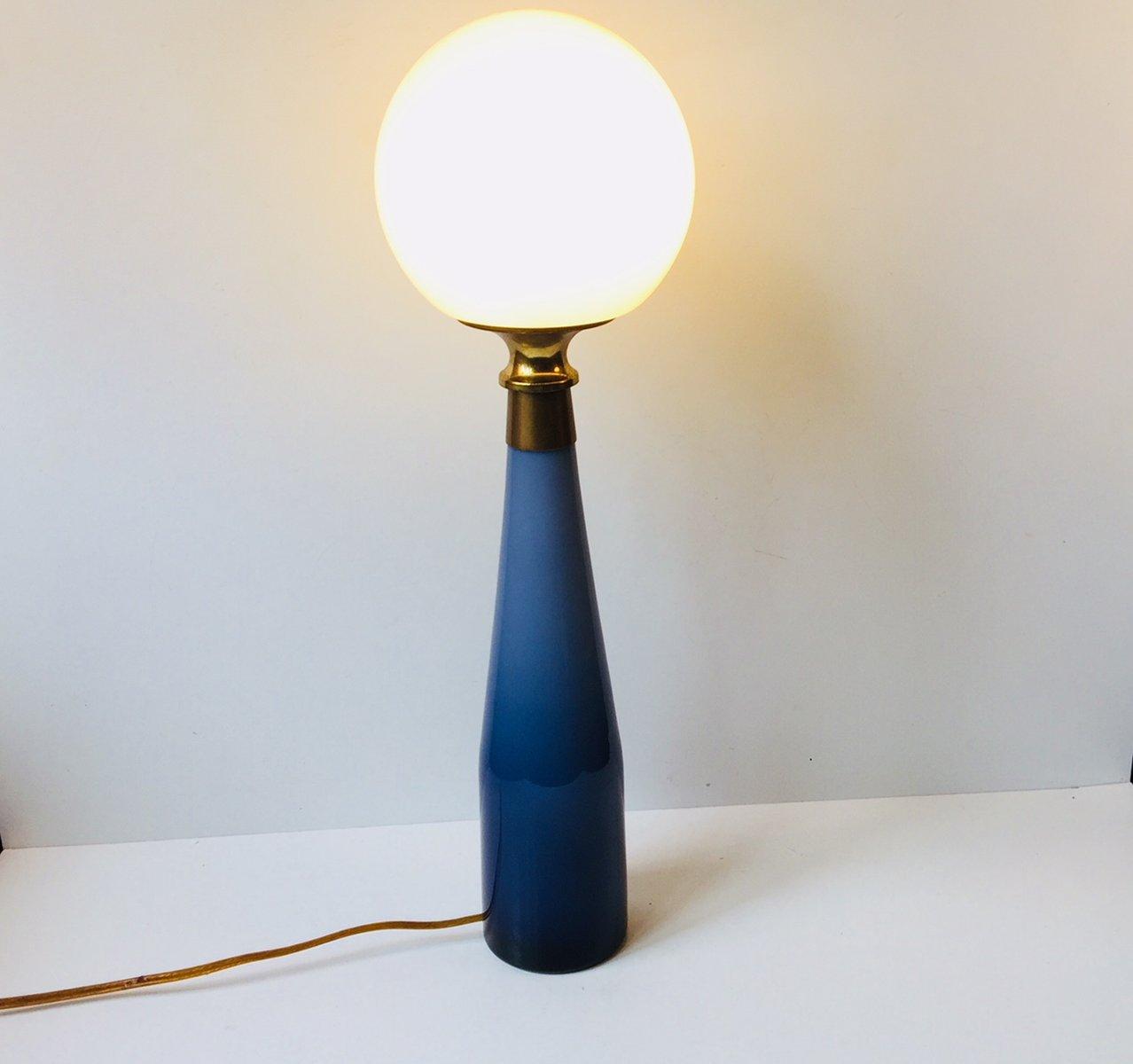 vintage nightblue tischlampe aus unterfangenem glas von bent nordsted f r kastrup bei pamono kaufen. Black Bedroom Furniture Sets. Home Design Ideas