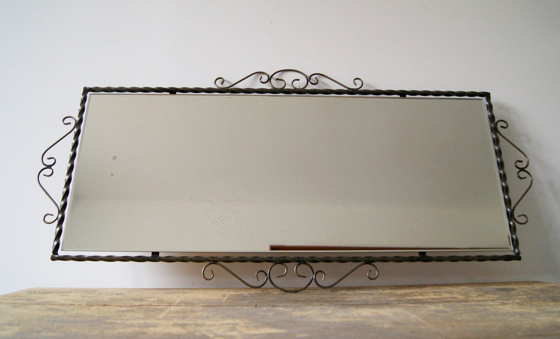 deutscher spiegel mit rahmen aus schmiedeeisen 1950er bei. Black Bedroom Furniture Sets. Home Design Ideas