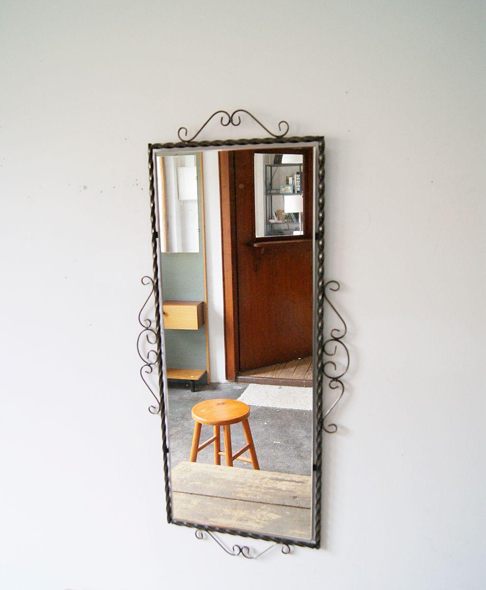 deutscher spiegel mit rahmen aus schmiedeeisen 1950er bei pamono kaufen. Black Bedroom Furniture Sets. Home Design Ideas