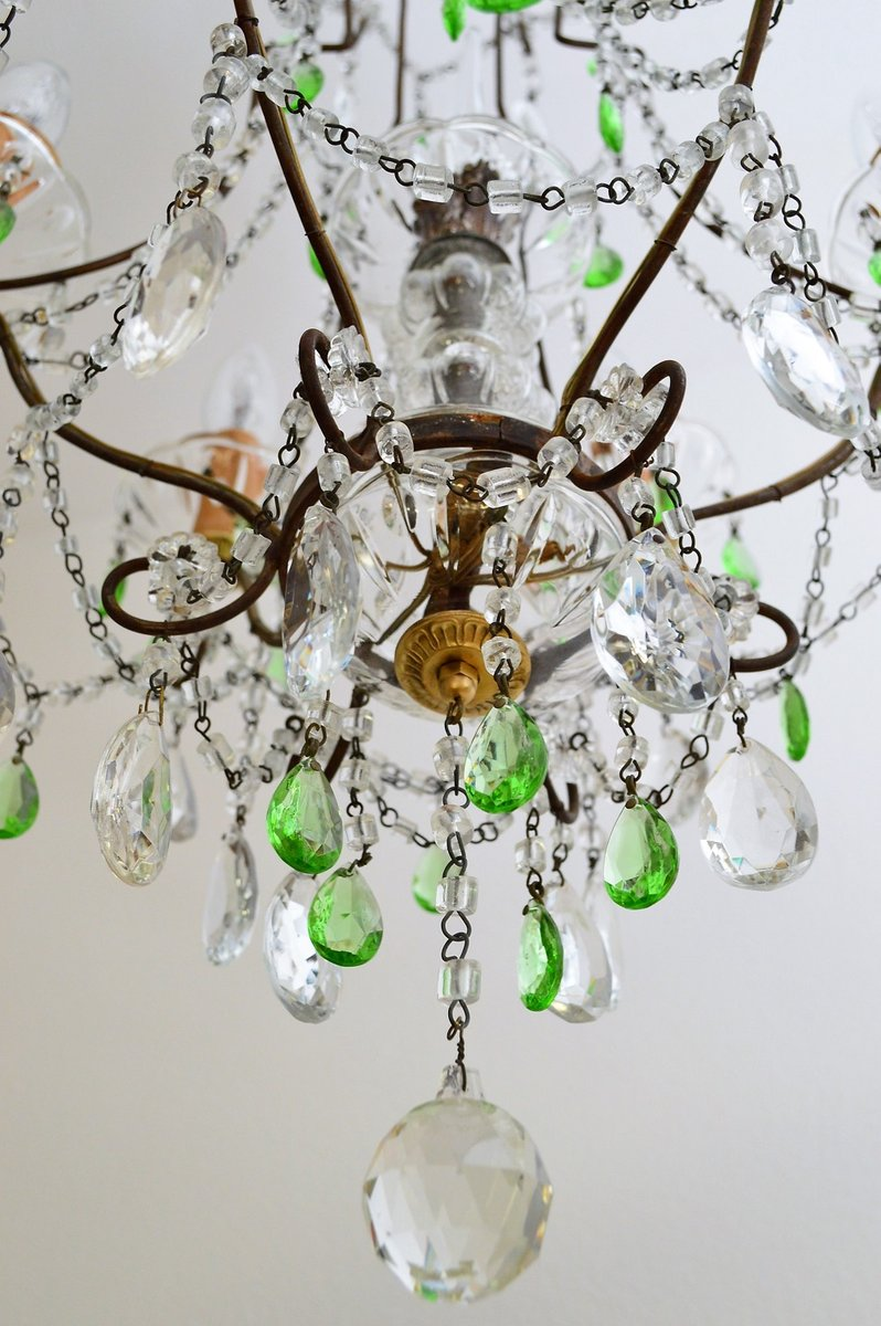 Crystal chandelier with green murano drops 1950s for sale at pamono crystal chandelier with green murano drops 1950s arubaitofo Image collections