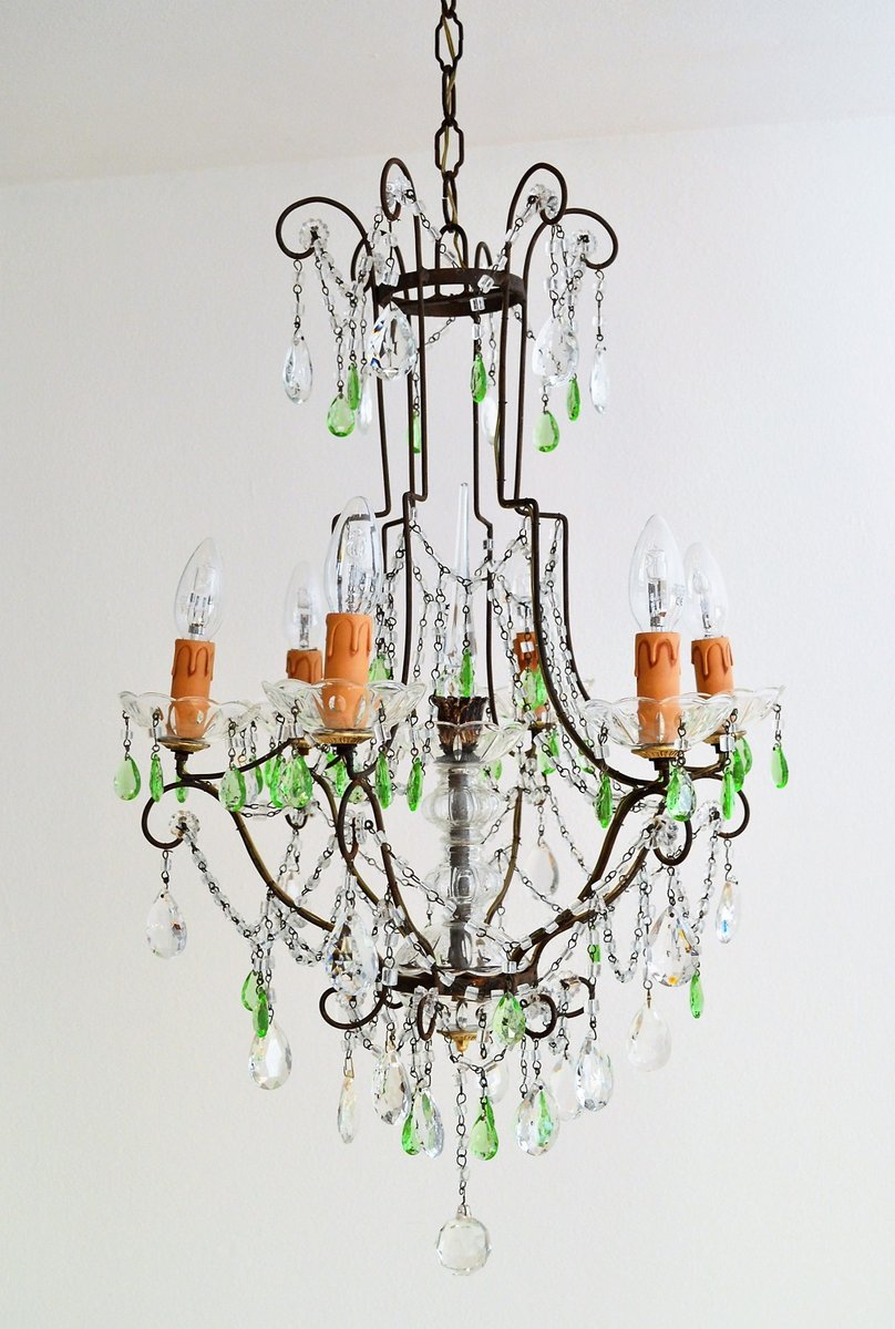 Crystal chandelier with green murano drops 1950s for sale at pamono crystal chandelier with green murano drops 1950s aloadofball Images