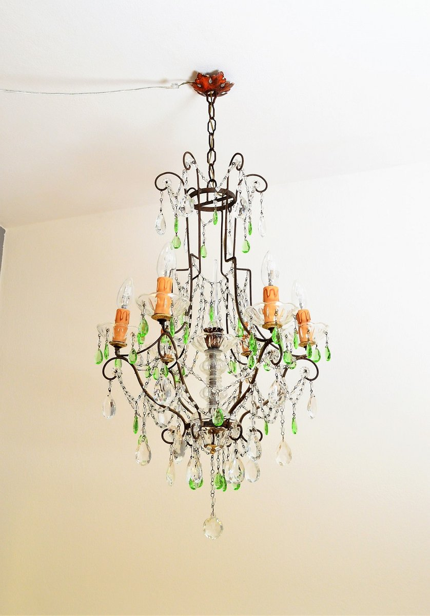 Crystal chandelier with green murano drops 1950s for sale at pamono crystal chandelier with green murano drops 1950s arubaitofo Choice Image