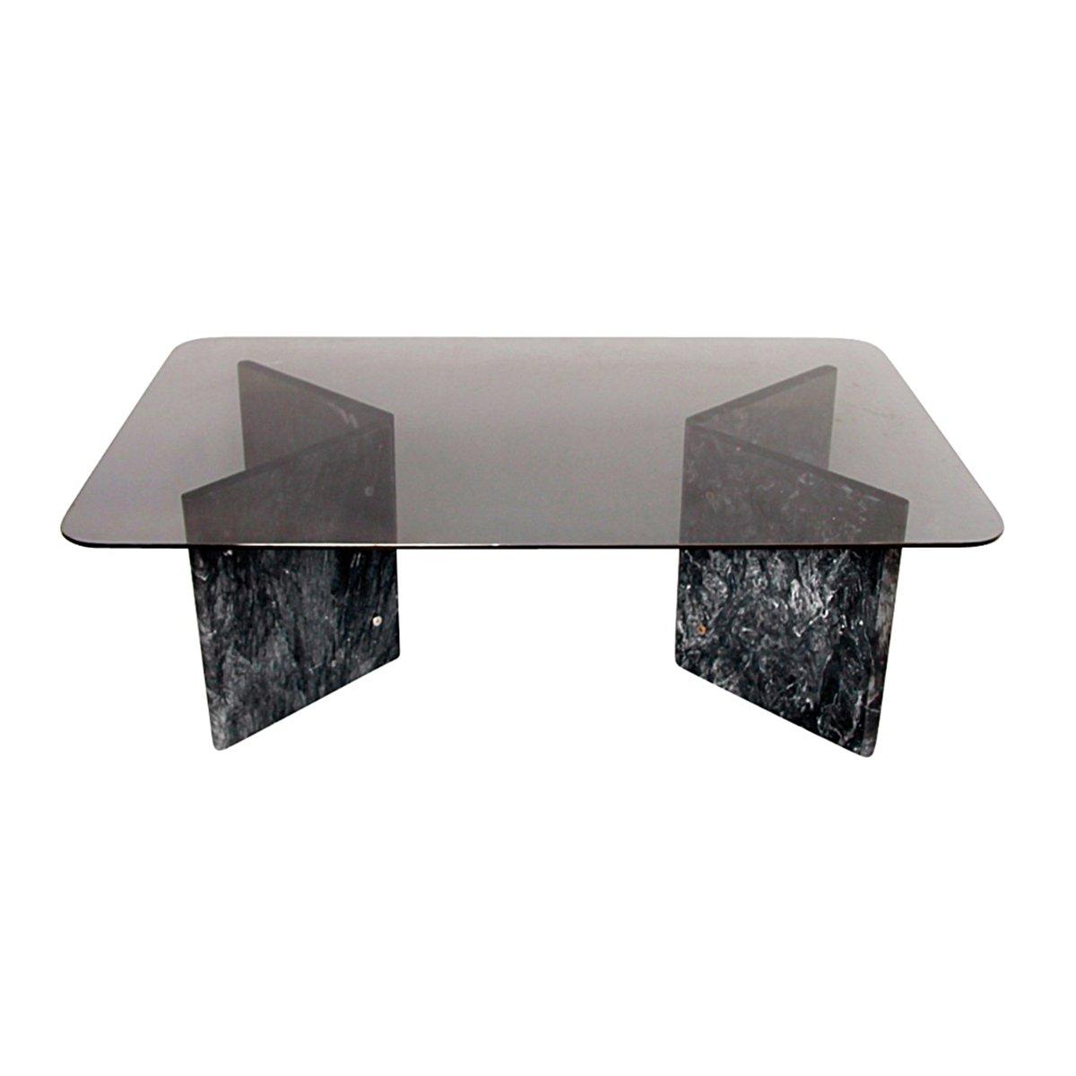 couchtisch aus schwarzem carrara marmor glas 1980er bei pamono kaufen. Black Bedroom Furniture Sets. Home Design Ideas