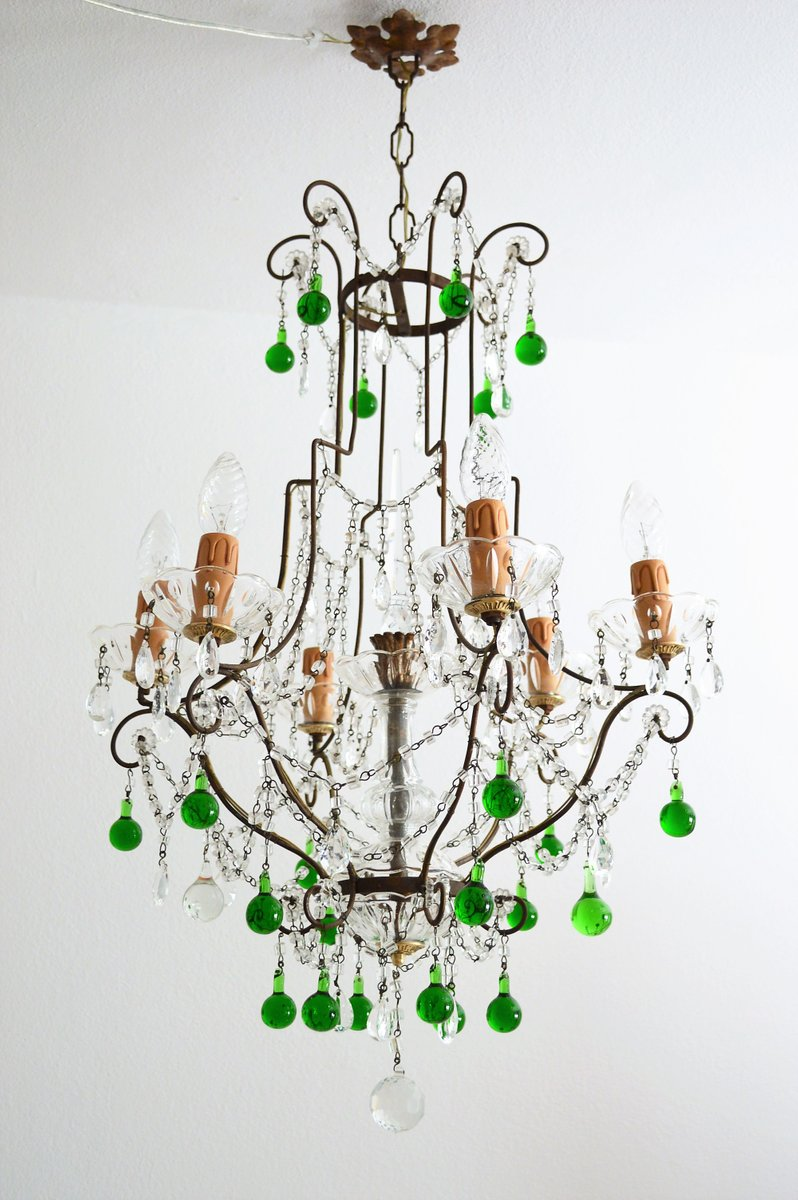 Crystal brass chandelier with green murano drops 1950s for sale at crystal brass chandelier with green murano drops 1950s for sale at pamono arubaitofo Choice Image