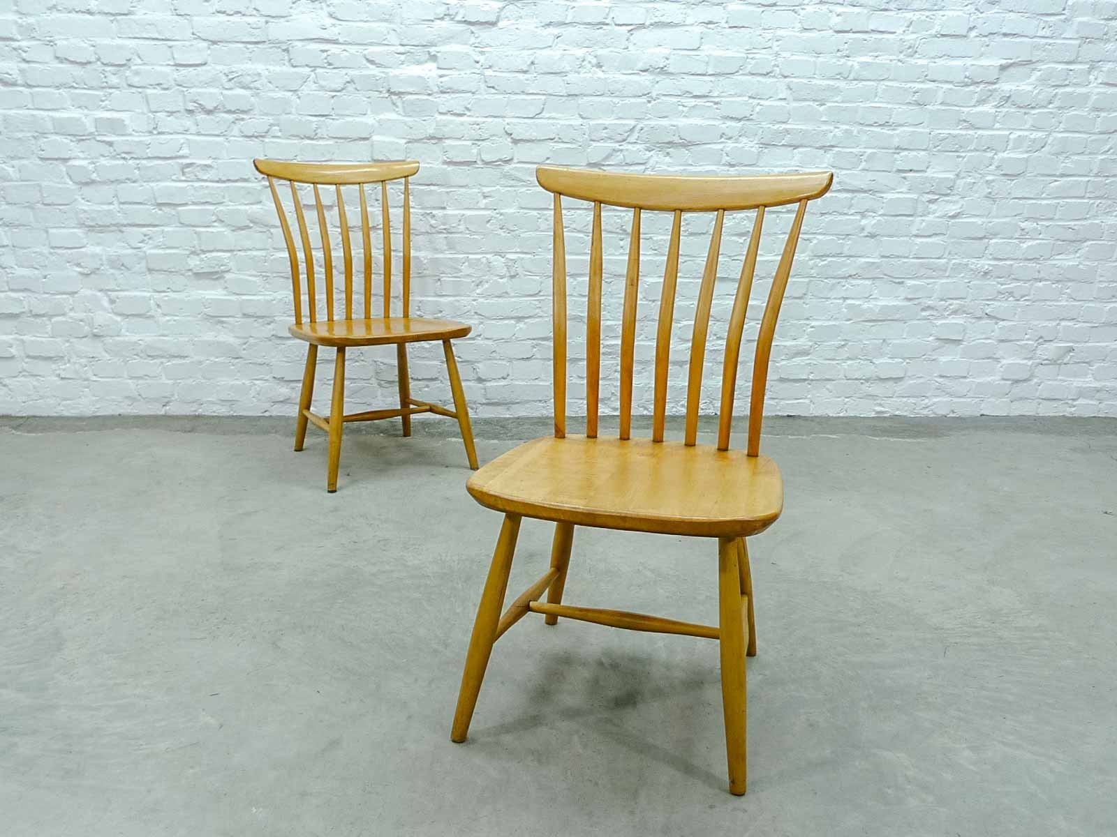 Mid Century Beech Spindle Back Dining Chairs By Bengt Akerblom For  Akerblom, Set Of 6 For Sale At Pamono