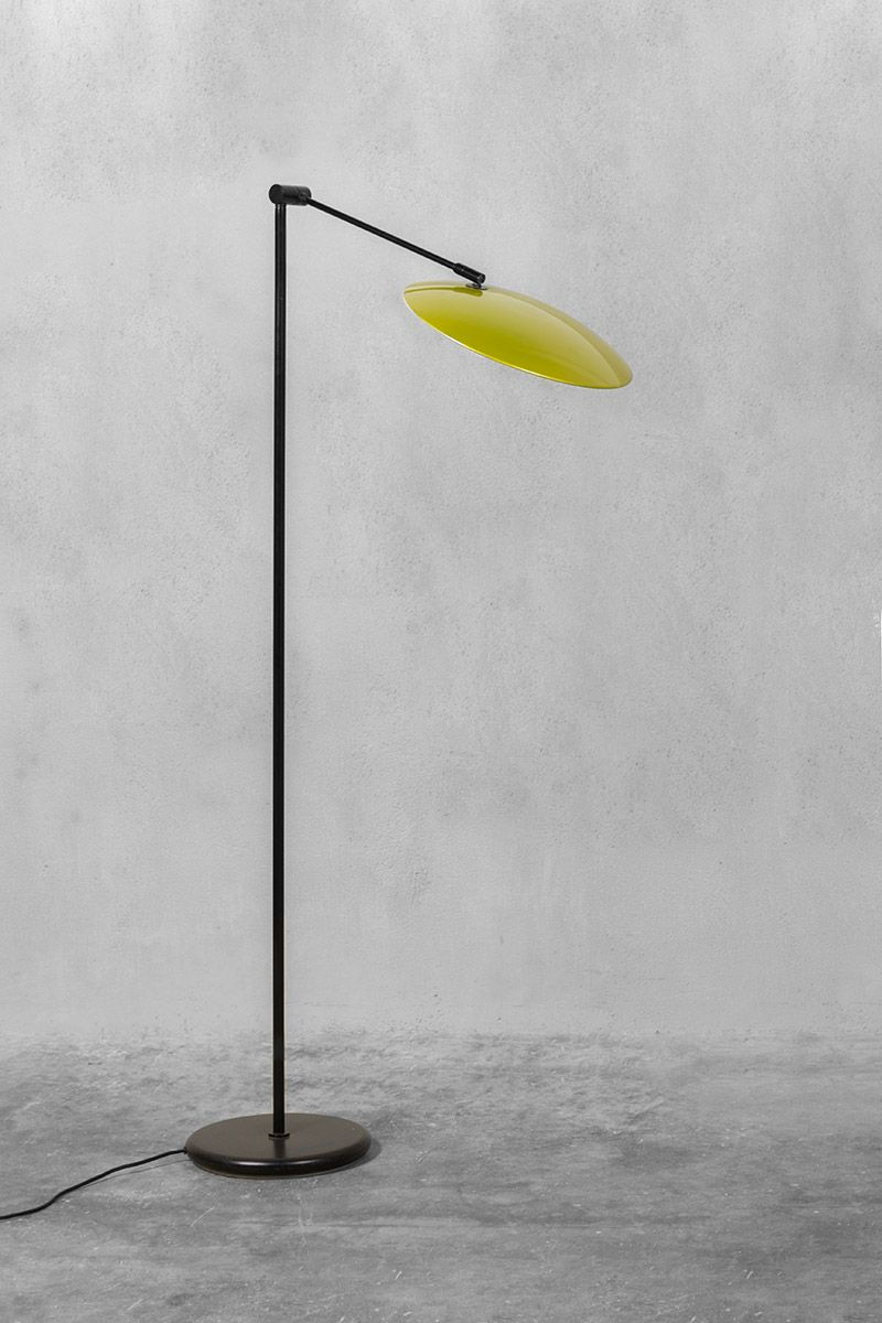 Black metal and olive lacquered floor lamp 1970s for sale for Olive wood floor lamp