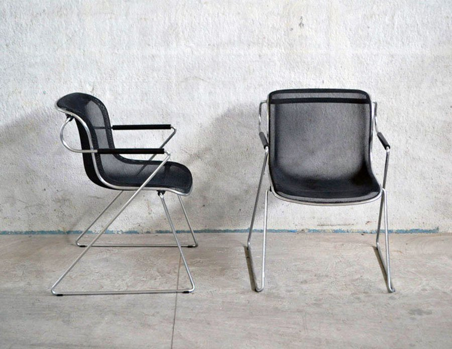 Vintage Wire Mesh Penelope Chairs By Charles Pollock For Anonima Castelli,  Set Of 4
