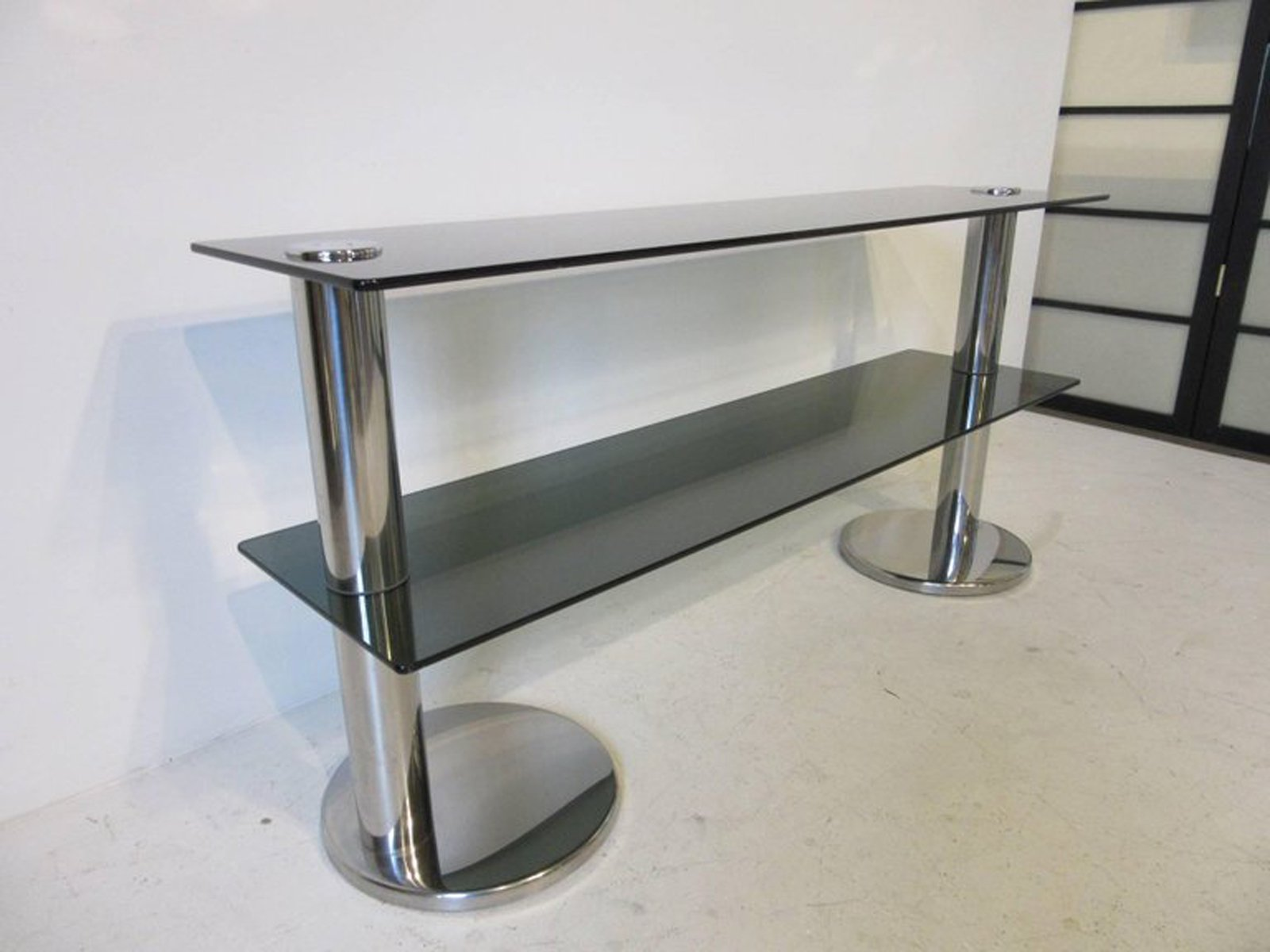 Italian Chrome and Glass Console Table 1970s for sale at Pamono