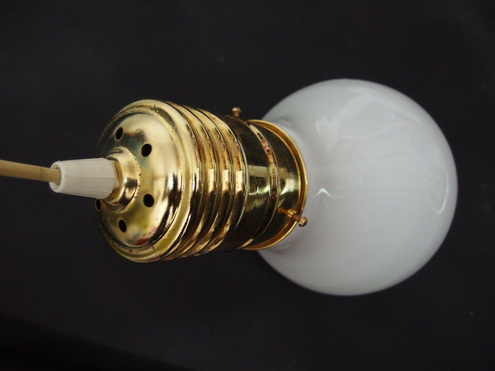 Hängelampe Großer Schirm : vintage h ngelampe aus glas und messing bei pamono kaufen ~ Whattoseeinmadrid.com Haus und Dekorationen