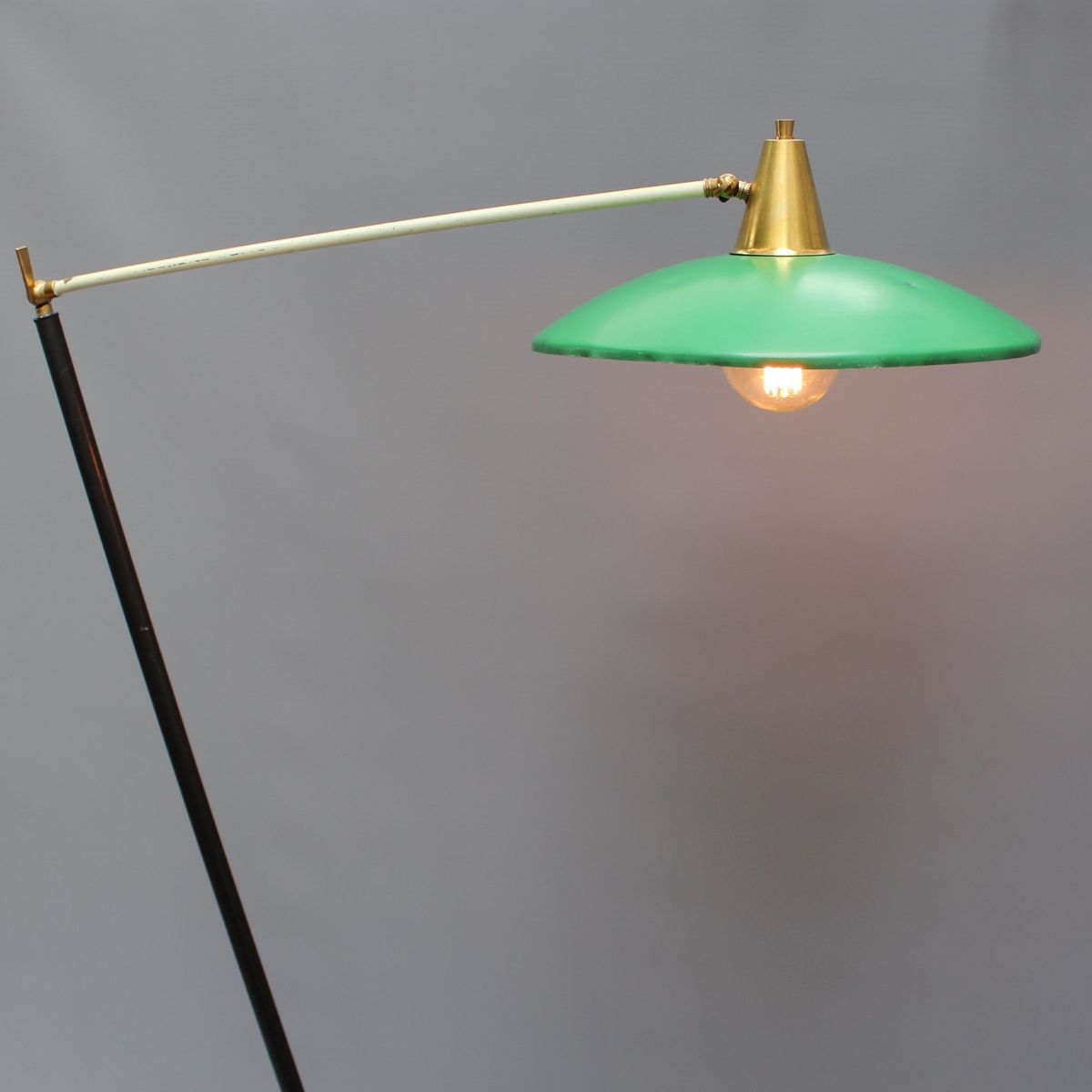 Nice Italian Articulating Floor Lamp With Green Shade From Stilux Milano, 1950s